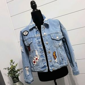 Forever 21 Denim Jacket with Patches